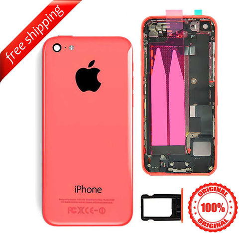 Original Full Metal Battery Housing Back Cover Assembly With Small Spare Parts For iPhone 5c - Pink