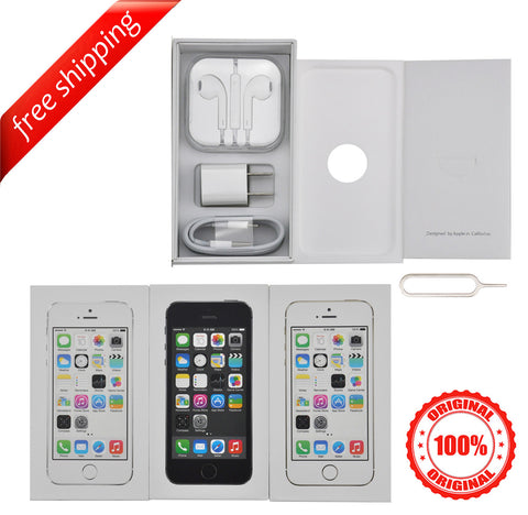 Original Packaging Box + Original Full Accessories + Label Sticker For iPhone 5S