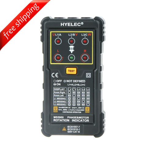 HYELEC MS5900 Motor Phase Rotation Indicator Tester for FLUKE F9040 F9062