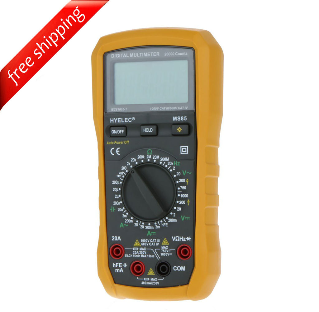 HYELEC MS85 Digital Multimeter AC/DC Resistance Capacitance Frequency Tester w/ Blacklight