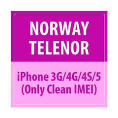 Norway Telenor iPhone 3G/4G/4S/5 Only Clean IMEI
