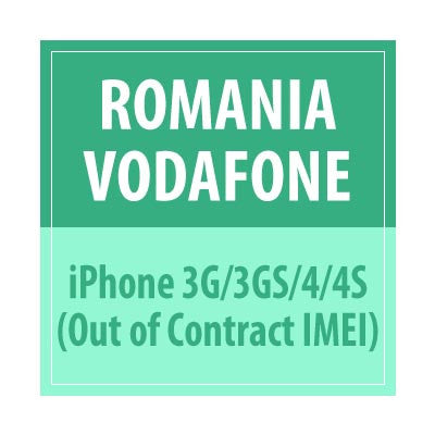 Romania Vodafone iPhone 3G/3GS/4/4S Out of Contract IMEI - Delivery Time : 2-10 days