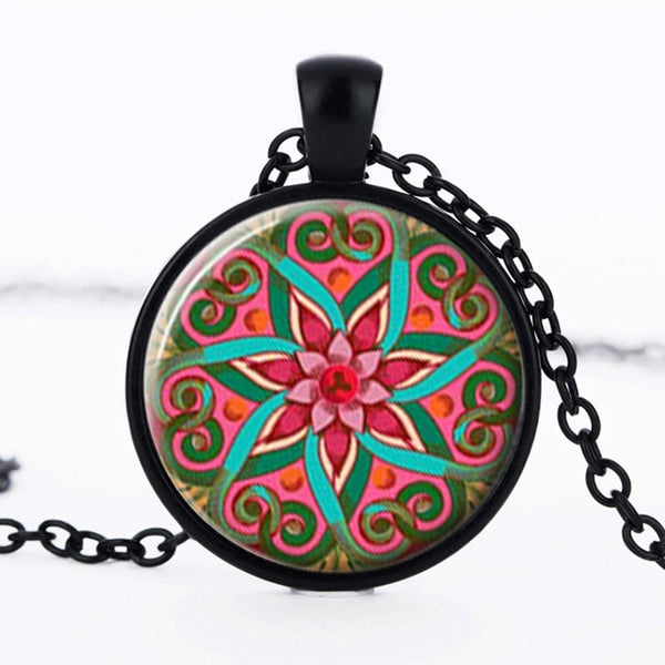 Colorful Statement Pendant Necklace Mandala Lotus (Free Shipping)
