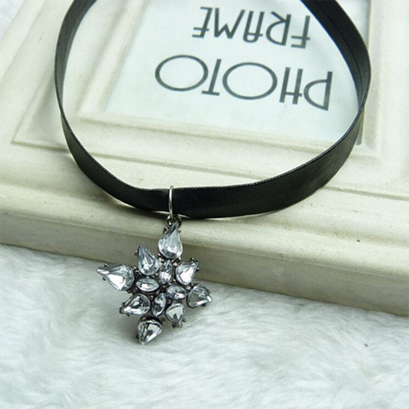 Nice leather choker necklace with big flower crystal pendant free nice leather choker necklace with big flower crystal pendant free shipping mozeypictures