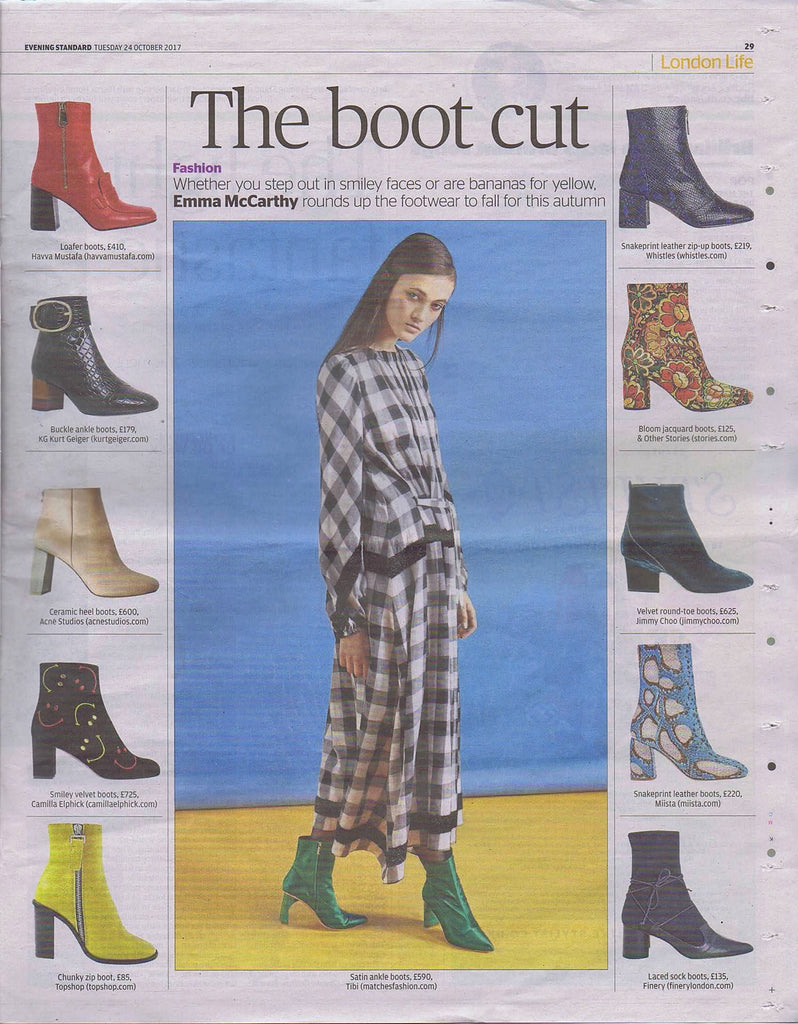 Miista Adrianne Aqua Snake featured in London Evening Standard