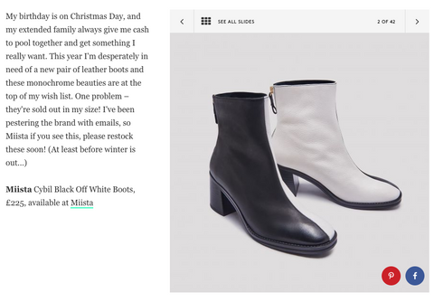 Miista Cybil Black Off White Boots featured in Refinery29