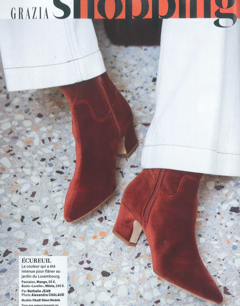 Lorelle Rust Boots featured in Grazia FR