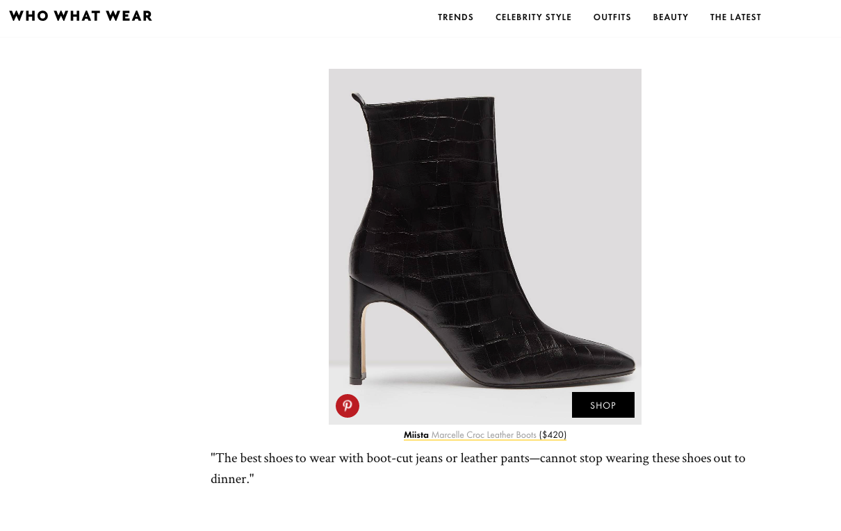 Who What Wear: Deveon Carlson favourite boots Miista
