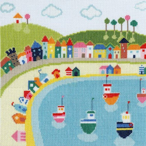 Beside the Seaside Beach Huts Cross Stitch Kit