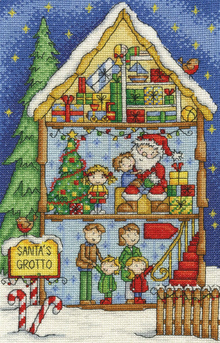 Inside Christmas Santa's Grotto Cross Stitch Kit