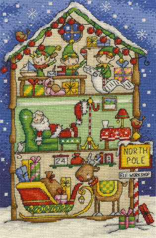 Inside Christmas Elf's Workshop Cross Stitch Kit