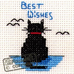 Best Wishes Cat - Stitchlets Greeting Card