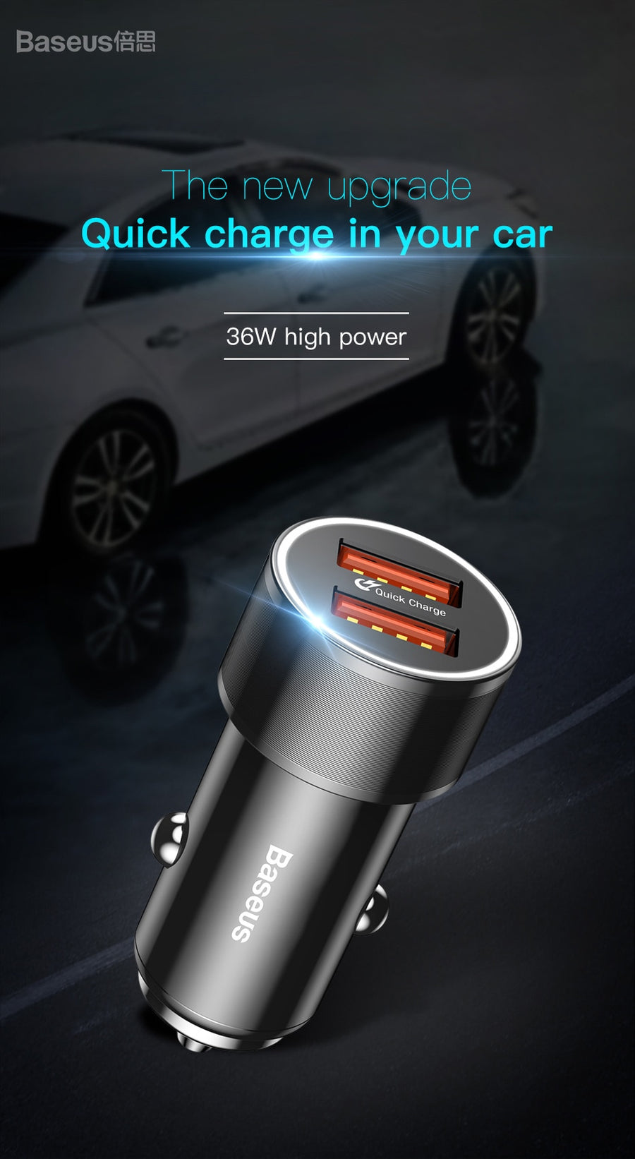 Baseus 36W Dual USB Car Charger - Repair Bull