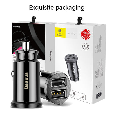 Baseus Mini USB Car Charger 3.1A Fast Charger Dual USB - Repair Bull