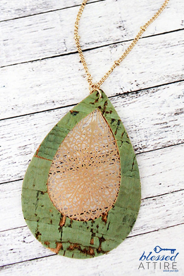 Mint Cork and Filigree Teardrop Necklace