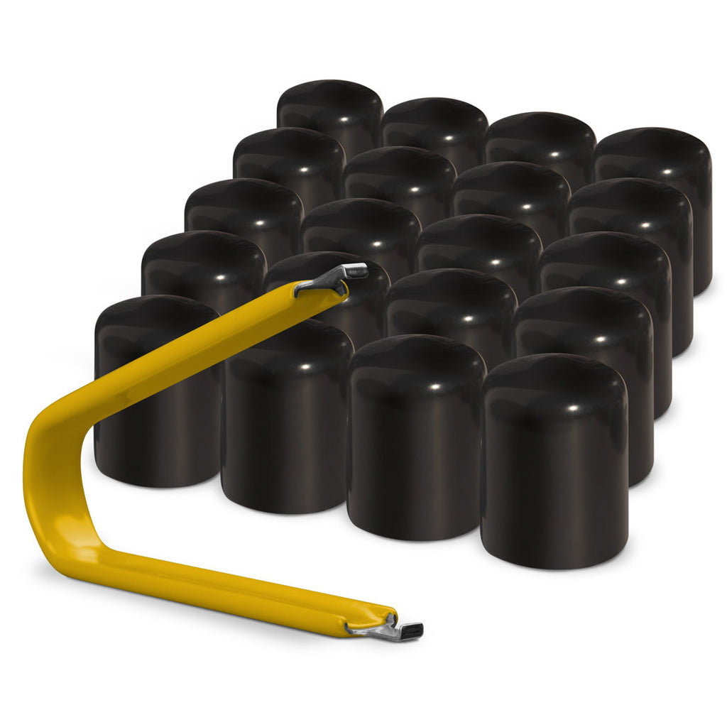 Multi-pack of black ColorLugs LugCaps — flexible, durable and form-fitting vinyl lug nut covers with extractor tool
