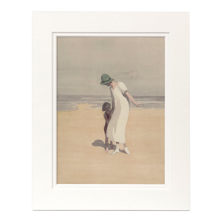 Print Mounted - Mother & Child on the Beach