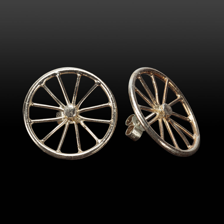 Silver Wheel Stud Earrings