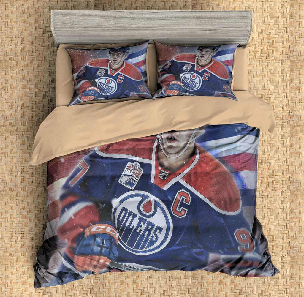 3d Customize Connor Mcdavid Edmonton Oilers Bedding Set