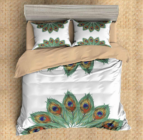 3D Customize  Peacock Feathers Bedding Set Duvet Cover Set Bedroom Set Bedlinen - Three Lemons Hometextile