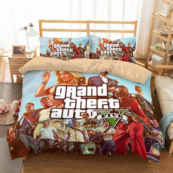 3D Customize GTA 5 Bedding Set Duvet Cover Set Bedroom Set Bedlinen