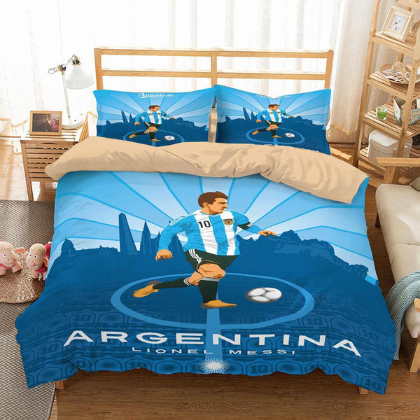 3D Customize FIFA World Cup Russia 2018 Argentina Lionel Messi Bedding Set Duvet Cover Set Bedroom Set Bedlinen