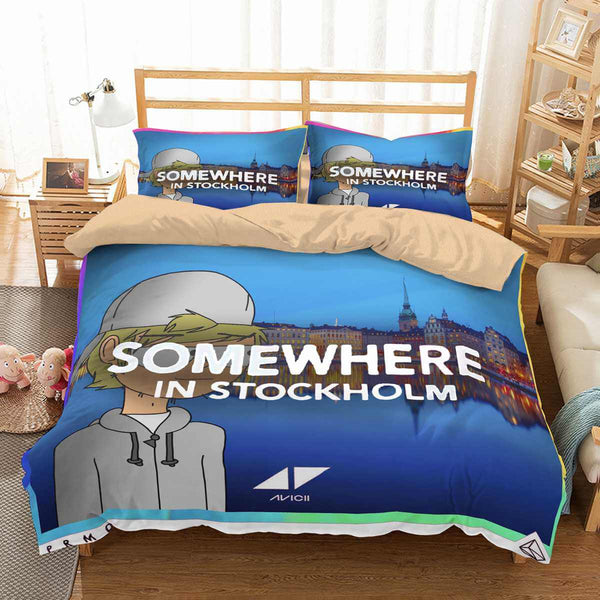 3D Customize Avicii Somewhere In Stockholm Bedding Set Duvet Cover Set Bedroom Set Bedlinen - Three Lemons Hometextile