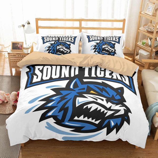 3D Customize Bridgeport Sound Tigers Bedding Set Duvet Cover Set Bedroom Set Bedlinen