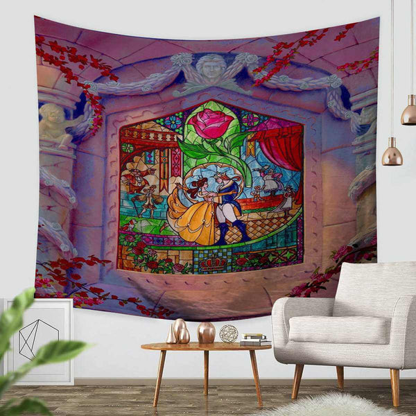 3D Custom Beauty and the Beast Tapestry Throw Wall Hanging Bedspread - Three Lemons Hometextile