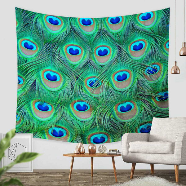 3D Custom Peacock Feathers Tapestry Throw Wall Hanging Bedspread - Three Lemons Hometextile