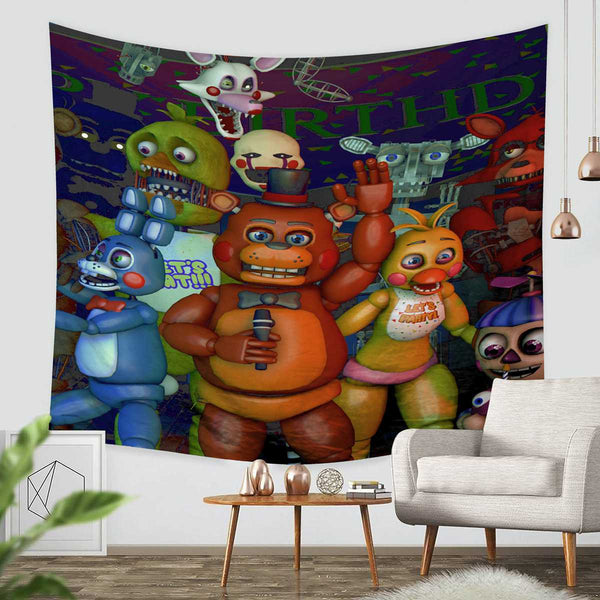3D Custom Five Nights At Freddy's Tapestry Throw Wall Hanging Bedspread - Three Lemons Hometextile