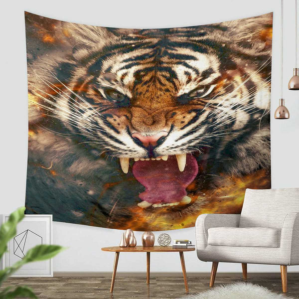 3D Custom Tiger Tapestry Throw Wall Hanging Bedspread - Three Lemons Hometextile