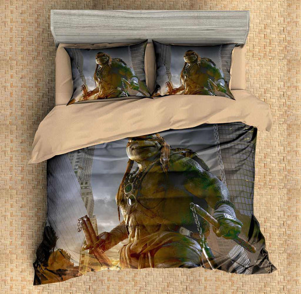 Customize Duvet Cover Set Ninja Turtles Michelangelo 4PCS Bedding Set Bedlinen - Three Lemons Hometextile