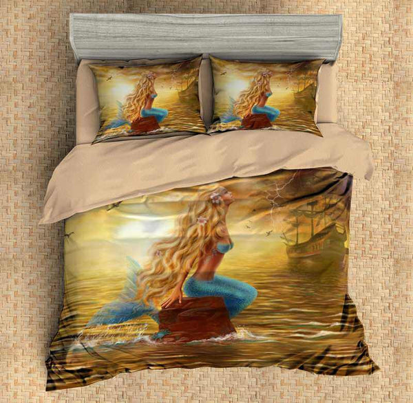 3D Customize Mermaid Bedding Set Duvet Cover Set Bedroom Set Bedlinen - Three Lemons Hometextile