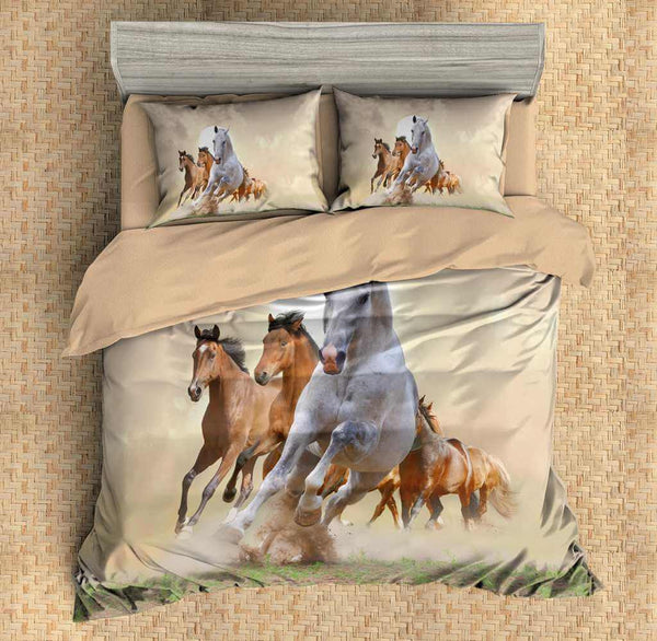 3D Customize Horses Bedding Set Duvet Cover Set Bedroom Set Bedlinen - Three Lemons Hometextile