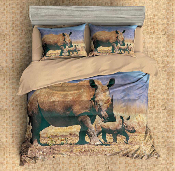 3D Customize Rhinoceros Bedding Set Duvet Cover Set Bedroom Set Bedlinen - Three Lemons Hometextile