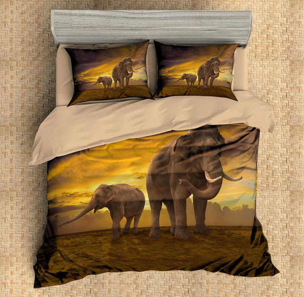 3D Customize Elephant Bedding Set Duvet Cover Set Bedroom Set Bedlinen - Three Lemons Hometextile