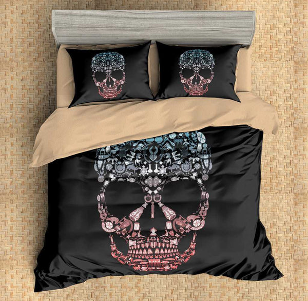 3D Customize Skull Bedding Set Duvet Cover Set Bedroom Set Bedlinen - Three Lemons Hometextile