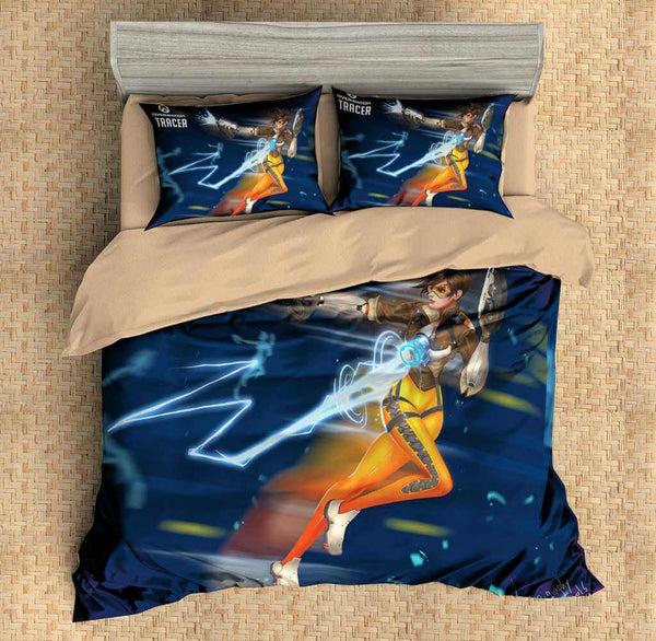 3D Customize Overwatch Tracer Bedding Set Duvet Cover Set Bedroom Set Bedlinen - Three Lemons Hometextile