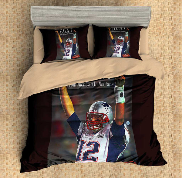 3D Customize Tom Brady Bedding Set Duvet Cover Set Bedroom Set Bedlinen - Three Lemons Hometextile