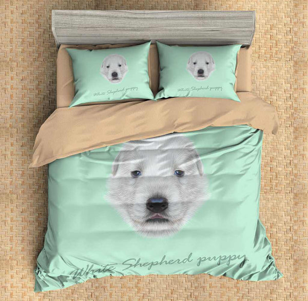 3D Customize White Shepherd Puppy Bedding Set Duvet Cover Set Bedroom Set Bedlinen - Three Lemons Hometextile