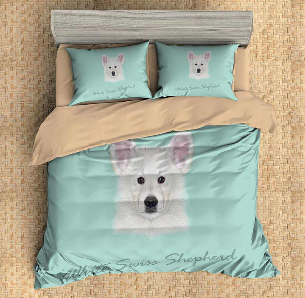 3D Customize White Swiss Shepherd Bedding Set Duvet Cover Set Bedroom Set Bedlinen - Three Lemons Hometextile