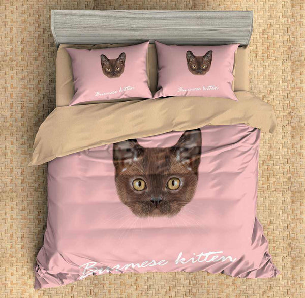 3D Customize Burmese Kitten Bedding Set Duvet Cover Set Bedroom Set Bedlinen - Three Lemons Hometextile