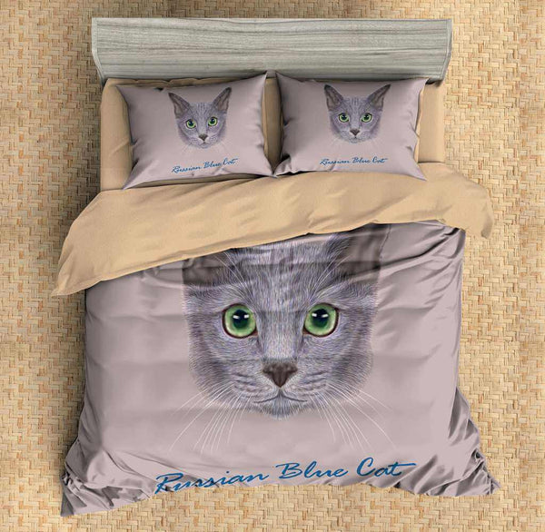 3D Customize Russian Blue Cat Bedding Set Duvet Cover Set Bedroom Set Bedlinen - Three Lemons Hometextile