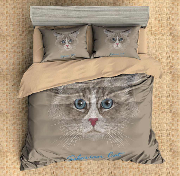 3D Customize Siberian Cat Bedding Set Duvet Cover Set Bedroom Set Bedlinen - Three Lemons Hometextile