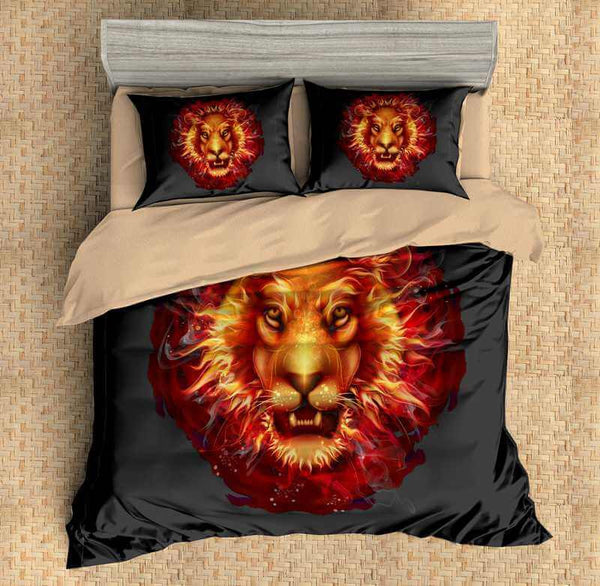 3D Customize Lion Bedding Set Duvet Cover Set Bedroom Set Bedlinen - Three Lemons Hometextile