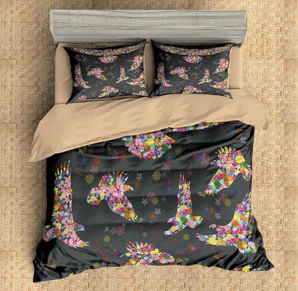 3D Customize Eagle and Flowers Bedding Set Duvet Cover Set Bedroom Set Bedlinen - Three Lemons Hometextile