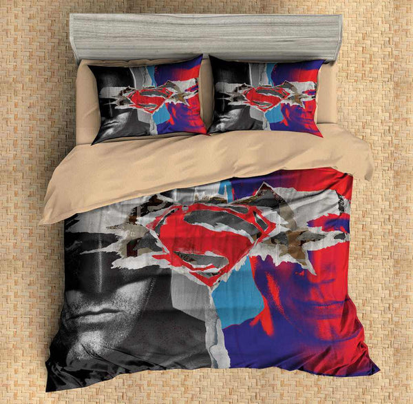 3D Customize Batman vs Superman Bedding Set Duvet Cover Set Bedroom Set Bedlinen - Three Lemons Hometextile