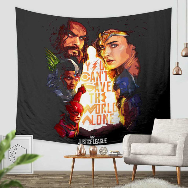 3D Custom Justice League Tapestry Throw Wall Hanging Bedspread - Three Lemons Hometextile