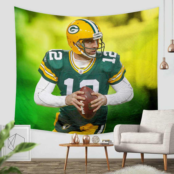 3D Custom Aaron Rodgers Green Bay Packers Tapestry Throw Wall Hanging Bedspread - Three Lemons Hometextile